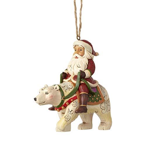 Enesco Jim Shore Heartwood Creek Santa Riding a Polar Bear Hanging Ornament, 3.875