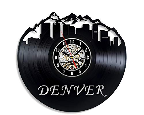 Levescale - Denver Vinyl Wall Clock - Vintage Style for Girls and Boys - Decoration for Bedroom, Kitchen - Nuggets - Broncos - Colorado - Skyline -Cityscap - Broncos - Mile-High City