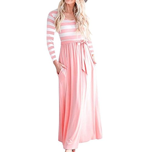 Pink Long with Dress Length Maxi Striped Women Sleeve Crewneck Coolred Belt Full awPZTa