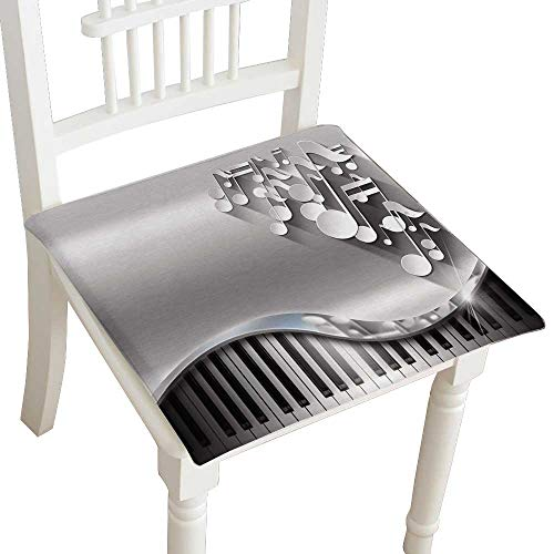 HuaWuhome Dining Chair Pad Cushion Music Metal Business Card White Musical Notes and Piano Keyboard on Metal with Shadows Business Card Fashions Indoor/Outdoor Bistro Chair Cushion 30