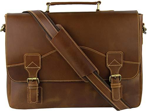 Viosi Mens RFID Leather Messenger Bag   16 Inch Laptop Briefcase Shoulder Satchel Bag   RFID Money Clip Included