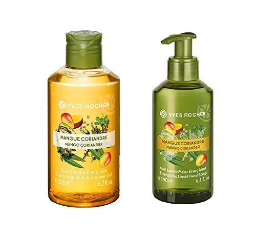 Yves Rocher Les Plaisirs Nature Energizing Bath & Shower Gel - Mango Coriander, 200 ml./6.7 fl.oz. + Yves Rocher Les Plaisirs Nature Energizing Mango Coriander Liquid Hand Soap, 190 ml./6.4 fl.oz.
