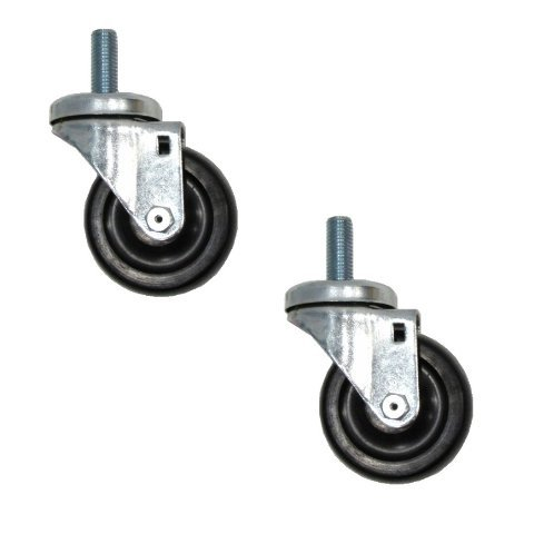 "(Clearance) Two Swivel Casters 3-1/2"" Rubber Wheel with 5/8"" Threaded Stem"