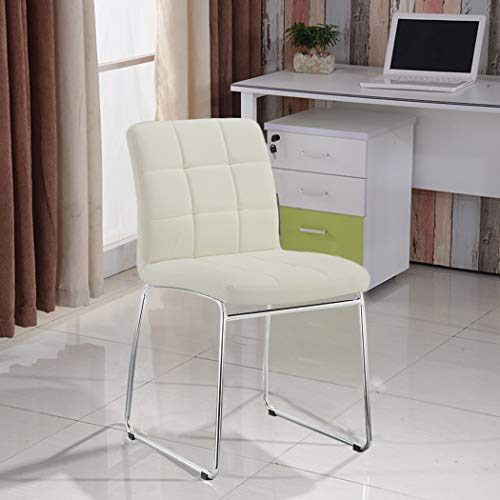 Duhome 2 Pcs White Side Chair Synthetic Leather Office Reception Dinning