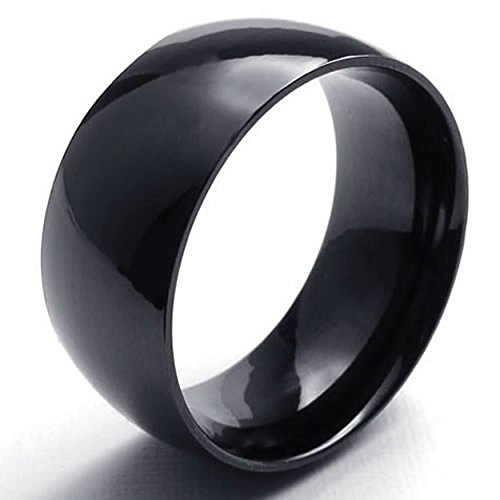(ANAZOZ Jewelry Black 10MM Smooth Gloss Band Mens Stainless Steel Ring Size 6)