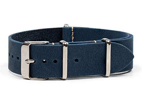 Benchmark Straps 18mm Navy Blue Oiled Leather NATO Watchband (More Colors ()