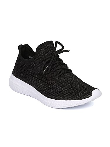 CAPE ROBBIN GF09 Women Fabric Knitted Lace up Jogger Sneaker GG09 - Black (Size: (Active Sneakers)