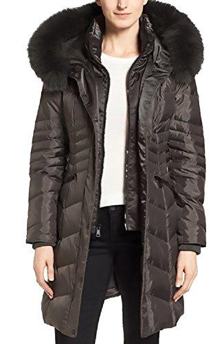 1 Madison Womens Luxe Down Walker Coat With Faux Fur Trim, Medium, Gunmetal (1 Madison Genuine Fox Fur Trim Down Parka)