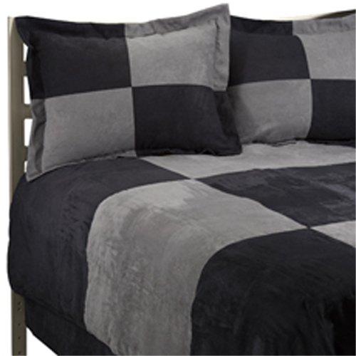 JBFF Luxury Microsuede Goose Down Alternative Comforter Set, Box Design, Queen Size, Black/Gray, 4 Piece (Black Microsuede Comforter Set)