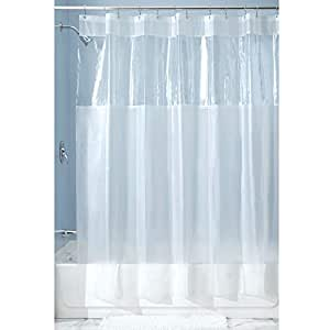 iDesign Hitchcock EVA Plastic Shower Liner Mold and Mildew Resistant for use Alone or With Fabric Curtain for Master, Guest, Kid's Bathroom, Long, Frost