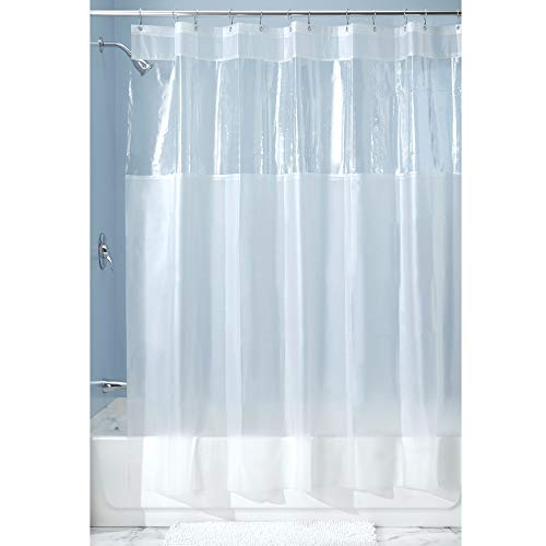 iDesign Hitchcock EVA Plastic Shower Liner Mold and Mildew Resistant for use Alone or With Fabric Curtain for Master, Guest, Kid's Bathroom, 72 x 84 Inches, Frost and Clear (Best Walk In Shower Designs)