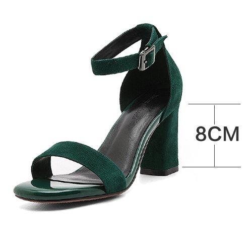 Y Verano vereiste lederschuhe schwärzlich grün guantes Sandalias Mujeres zapatos La guantes de un Los Cabeza con par BT7rBx