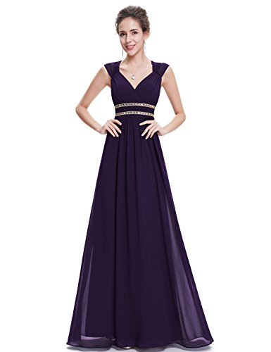 Ever-Pretty Womens Long Ruched V-Neckline Open Back Military Ball Dress 14 US Purple