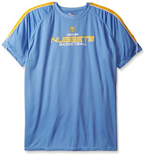 NBA Denver Nuggets Men's Short Sleeved Birdseye Crew T-Shirt with Shoulder Piecing, 2X/Tall, Coast Blue