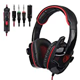 SADES PS4 Gaming Headset Headphone for PC/Laptop/Xbox One with Microphone SA708GT (Red)
