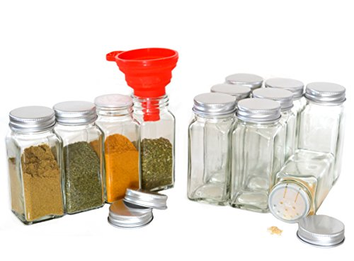 Clear Glass Spice Jars, 4 Oz Square with Silicon Funnel - Case of 12 ()