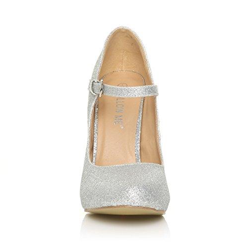 Größe 36 Pumps Damen Jane � hohe Mary Glitter Silber Knöchelriemchen Absätze 42 FwZxYTpqx