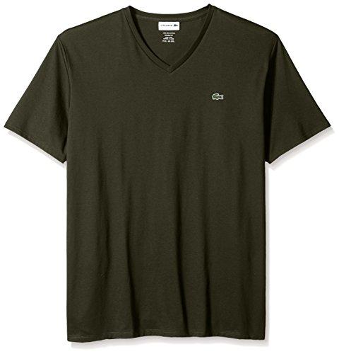 - Lacoste Men's Short Sleeve V-Neck Pima Cotton Jersey T-Shirt, Sherwood, X-Small