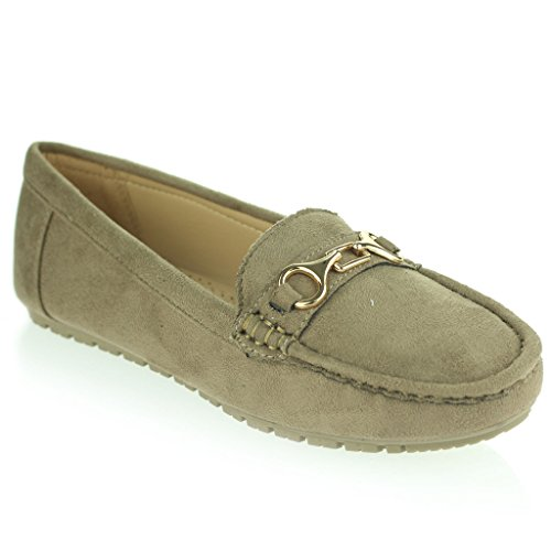 Women Ladies Lightweight Soft Pressure Point Comfort Moccasins Office Work Shoes Size Taupe