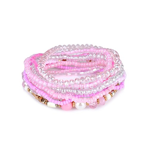 (Charm Bead Bracelet Bohemian Crystal Colorful Stretch Bead Multilayer Bracelets for Women&Girl Pink)