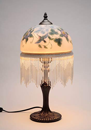 Hand Painted Hummingbird and Flowers Designs Glass Shade with Hanging Beads Strings Bronze Finish Cast Iron Base Table Lamp, 8