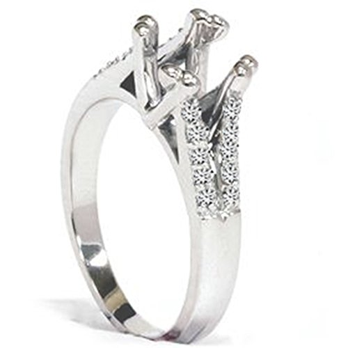 Diamond Semi Mount Ring Split Shank Setting 14K Gold (Ring Diamond Mount Semi)