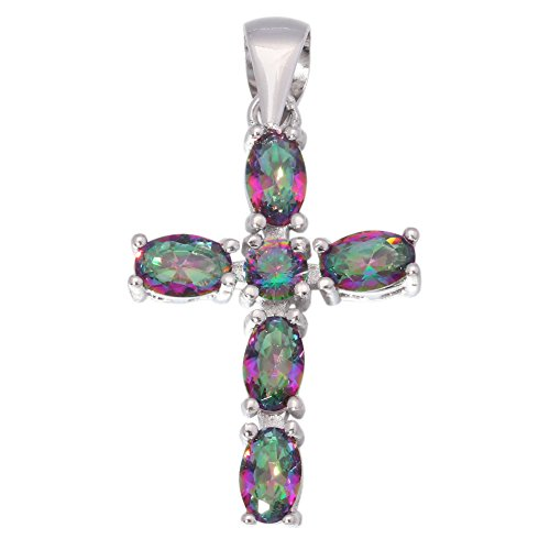 CiNily Rhodium Plated Mystic Topaz Women Jewelry Cross Gemstone Pendant 1 3/8
