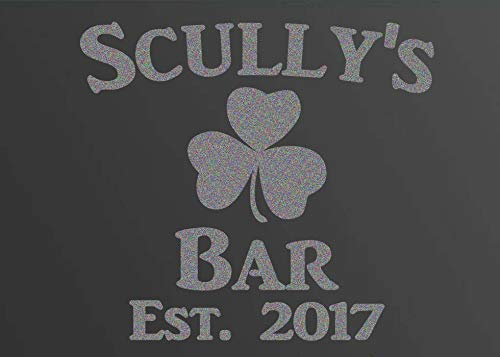 Custom Family Irish Shamrock Bar Frosted Etched Glass Vinyl Wall Quote Sticker Decal (Mirror not Included)