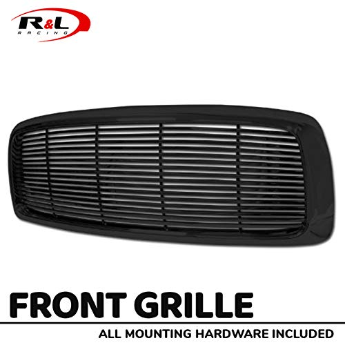 R&L Racing Black Finished Front Grill Horizontal Billet Hood Bumper Grille Cover 2002-2005 For Dodge Ram 1500/2500 / 3500