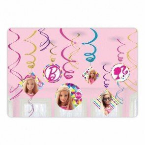 Barbie Sparkle Foil Swirls Birthday Party Decoration (12 Pack), Multi Color, 7