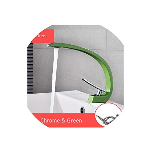 Orange Basin Faucets Modern Bathroom Mixer Tap Brass Washbasin Faucet Single Handle Single Hole Elegant Crane Tap,Green ()