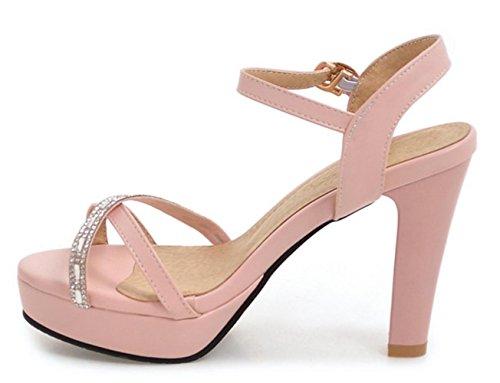 YCMDM WOMEN High Heels Sandalen PU Büro Karriere Party Abendkleid Chunky Ferse Gürtelschnalle Pink , pink , us6 / eu36 / uk4 / cn36