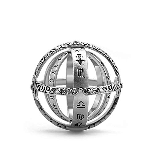 (925 Sterling Silver Astronomical Sphere Ball Ring Cosmic Finger Ring Couple Lover Jewelry Gifts)