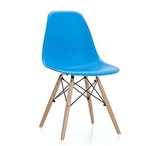 Set de 4 sillas replica eames azules para comedor o - Silla eames amazon ...
