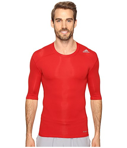 adidas Mens Training Techfit Base Tee, Power Red, Large