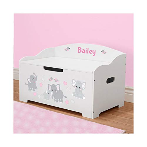 DIBSIES Personalization Station Personalized Modern Expressions Toy Box (White with Pink Elephants)