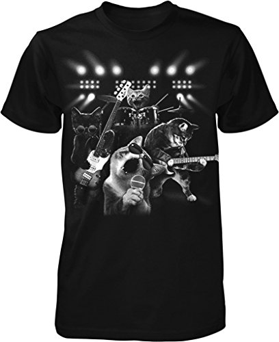 Cat Rock Band, Cats Playing Guitar and Drums Men's T-shirt, NOFO Clothing Co. XXXL Black Xxxl Band T-shirts