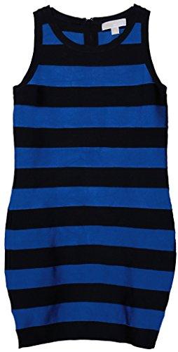 Michael Kors Women's Sleeveless Striped Dress 8 Black and Urban Blue