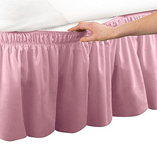 Pleated Three Sides Fabrics Wrap Around Style Egyptian Cotton Elastic 18 inch Drop Dust Bed Skirt for Twin/Full,Queen,King Size Beds(Queen, Pink)