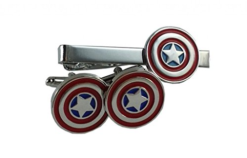 Silver Red and Blue Captain America Tie Clip Cufflink Set