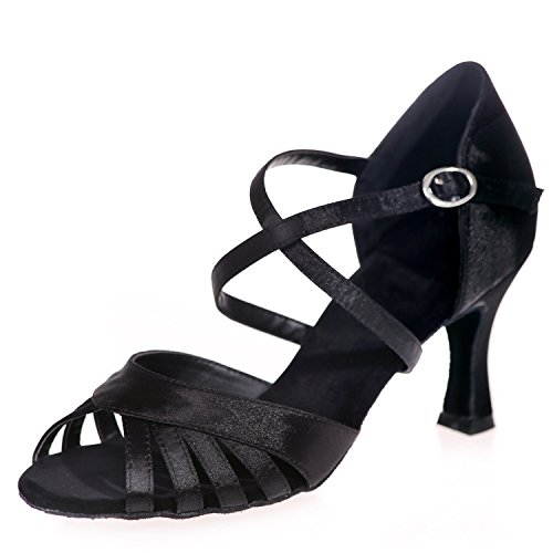Elobaby Zapatos De Baile para Mujer Satin Performance Plataforma De Punta Latina Peep Toe/7.5cm TalóN/Vestido Black