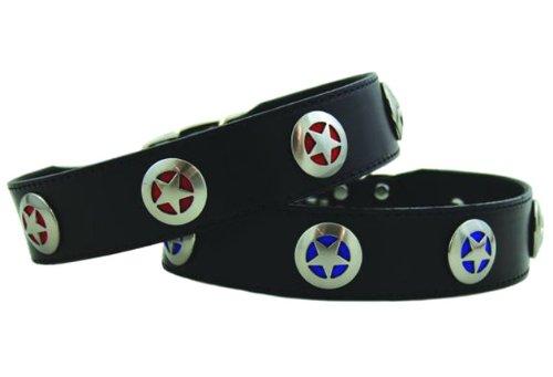 "Auburn Leathercrafters Texas Star Dog Collar - Black Leather - 1 1/2 "" x 18"" (Black with Blue Stars)"