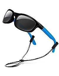 RIVBOS Rubber Kids Polarized Sunglasses for Boys Girls Child Age 3-10 RBK025-3