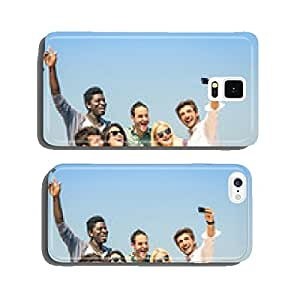Group of multiracial friends taking a selfie on the blue sky cell phone cover case iPhone6