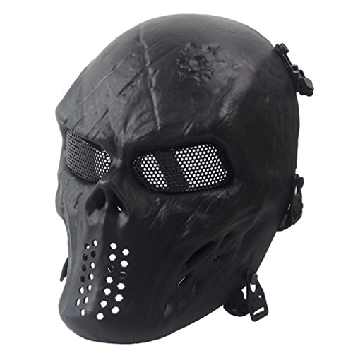 Army Man Costume Face Paint (Siniao Airsoft Paintball Full Face Skull Skeleton CS Mask Tactical Military (Black))