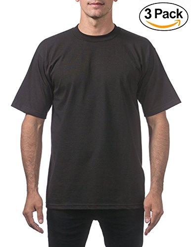 Pro Club Men's Heavyweight Short Sleeve T-Shirt, Black, 4X-Large (3 Pack) Photo #3