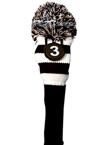 (Majek #3 Hybrid Rescue Utility Black & White Golf Headcover Knit Pom Pom Retro Classic Vintage Head Cover)