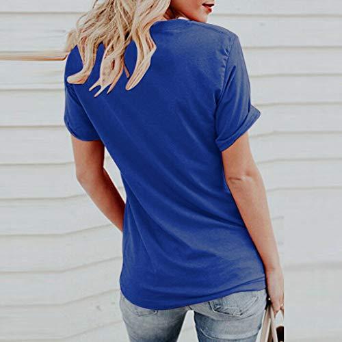 De Manga Camiseta Mujer Corta Estampado Azul Verano Con Lindo Blusa Gato Para AdaUqaw