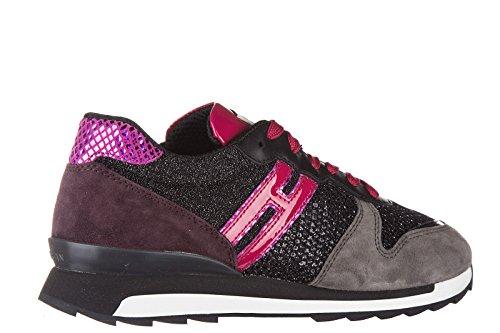 Hogan Rebel chaussures baskets sneakers femme en daim r261 allacciato noir