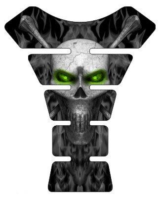 Motorcycle sportbike black flame skull green eyes 3d gel Tank Pad tankpad protector